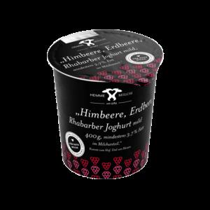 Himbeere, Erdbeere, Rhabarber Joghurt mild, mind. 3,7% Fett im Milchanteil